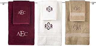 Personalized Monogrammed Decorative Bath Linens for Home, Office, and Gifts. Hotel Collection 100% USA Made Bath Towel - White - 27