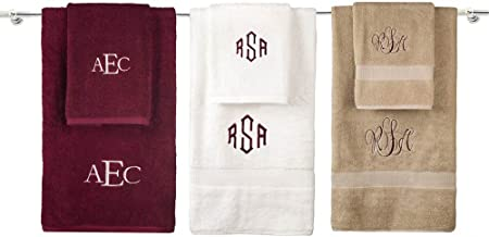 Personalized Monogrammed Decorative Bath Linens for Home, Office, and Gifts. Hotel Collection 100% USA Made Hand Towel - White - 16