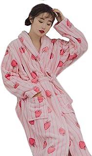 [えみり]レディース ナイトガウン ルームウェア パジャマ ネグリジェ ルームワンピース バスローブ ネル 部屋着 寝間着 裹起毛 イチゴ柄 春秋冬
