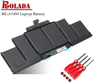 A1494 Laptop Battery Replacement for MacBook Pro 15 inch A1494 Retina A1398 (Only fit Late 2013 Mid 2014 Version) ME294 ME293 with Screwdrivers