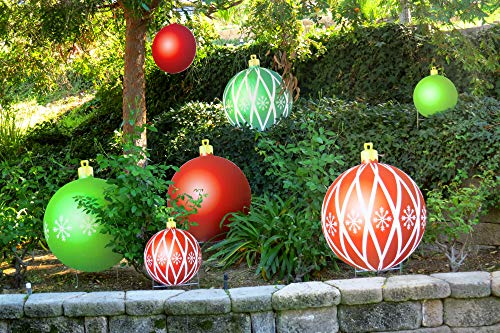Note Card Café 9 Piece Outdoor Christmas Ornament Decoration Yard Display | 6 Large 23' and 3 Small 12.5' Per Set | Holiday Decor Full Color Double Sided to Stake in Lawn or Hang