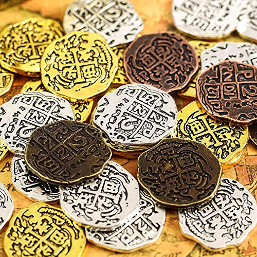 35 Pieces Metal Pirate Coins Spanish Doubloon Replicas Pirate Treasure Coin Toys for Party Favor Decorations, Bronze, Red Antique Bronze, Antique Gold and Antique Silver