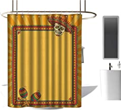 TimBeve Extra Wide Shower Curtain Fiesta,Frame Pattern with Skull Sombrero and Maracas Mexican Elements Geometric, Marigold Red Green,3D Effect Bathroom Curtain 36