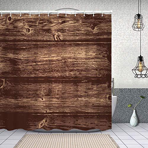 Starodec Cortina de Ducha Impermeable Ilustración de Fondo de Madera Oscura Natural Cortinas baño con Ganchos Lavable a Máquina 62x72 Inch