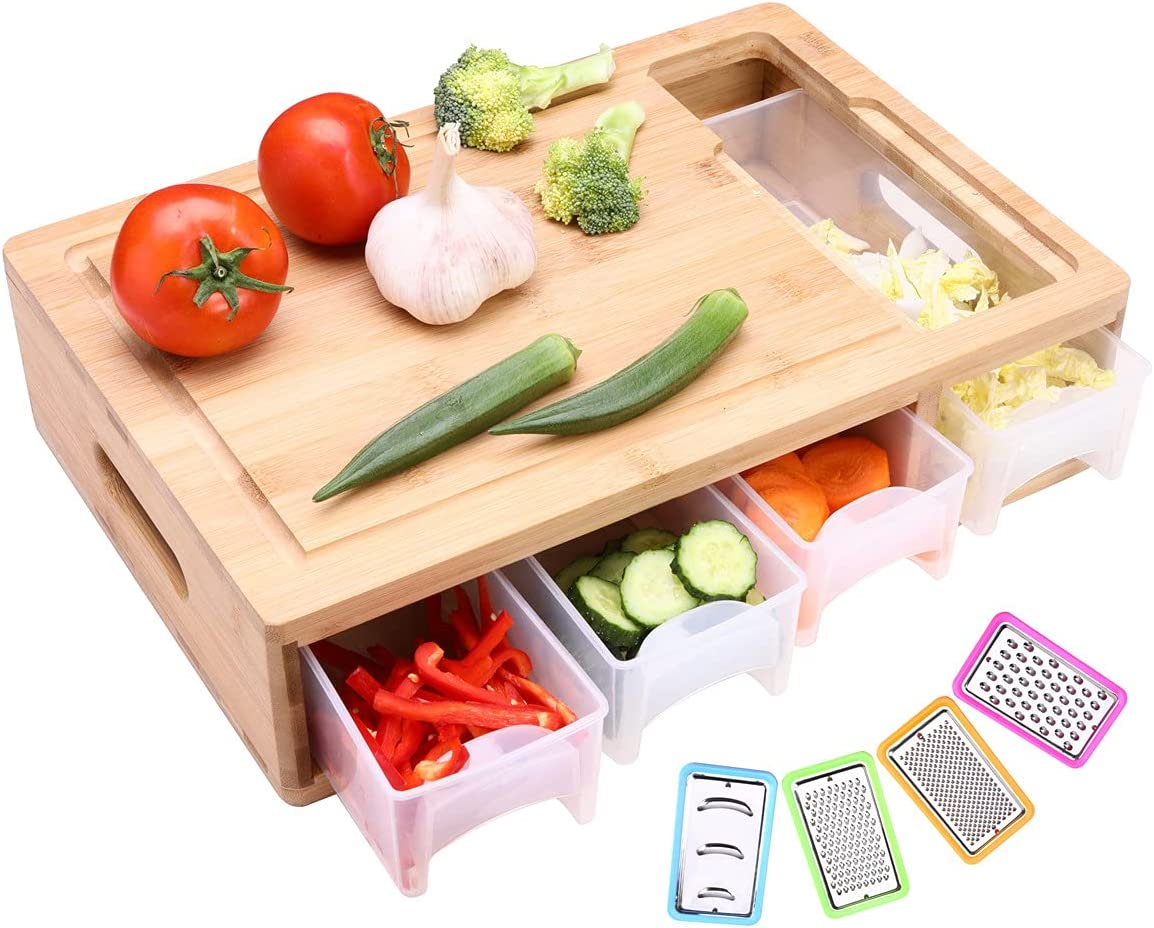 HIOHI Large Bamboo Cutting Board container Denver Mall 1 year warranty with trays slicers