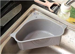 AMhomely 2 Stück Waschbecken Filterablage Dreieck-Lagerregal - Seiher Sieb Set Klappbar Abtropfsieb über die Spüle Vegtable/Obst Küche Sieb Teesieb mit ausziehbaren Griffen grau
