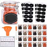 Spice Jars - 3.4 oz Airtight Spice Containers | 24 Count Flip Top Glass Jars with Lids | Empty Spice bottles with 60 Labels, Chalkboard Pen, Magnetic Conversion Chart | Kitchen Spice Organizer