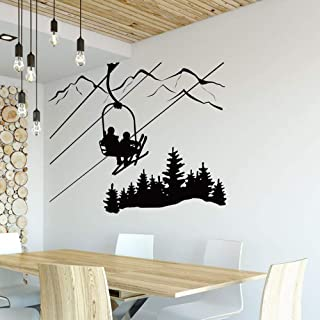 XCSJX Ski Sticker Salon Salon Skier telesilla telesilla Mountain Pine Tree Sticker Deportes de vinilo de invierno pegatinas de pared decoración para el hogar 104x88cm