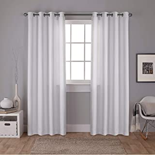 Exclusive Home Curtains Carling Basketweave Textured Woven Blackout Window Curtain Panel Pair with Grommet Top, 52x96, Winter White, 2 Piece