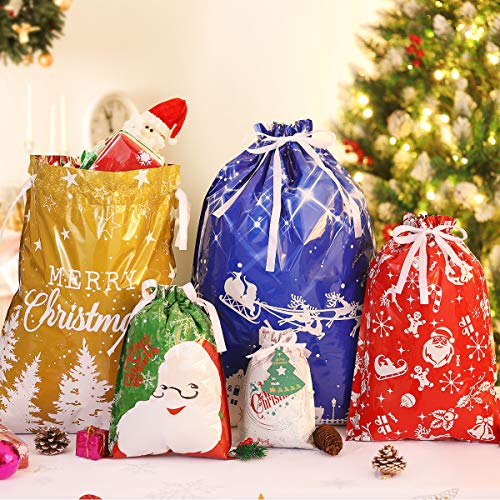 36PCS Christmas Bags in 5 Sizes, 5 Designs Christmas Drawstring Present Wrapping Bags with 36PCS Gift-Tags (Extra Large, Large, Medium, Normal, Small)