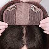 Silk Lace Base Human Hair Toupee Topper Hair Toppers for Women Clip In Human Hair Extension 130% Volume Hairpieces Natural Black,Brown lace (12.6 inches right part, dark brown)