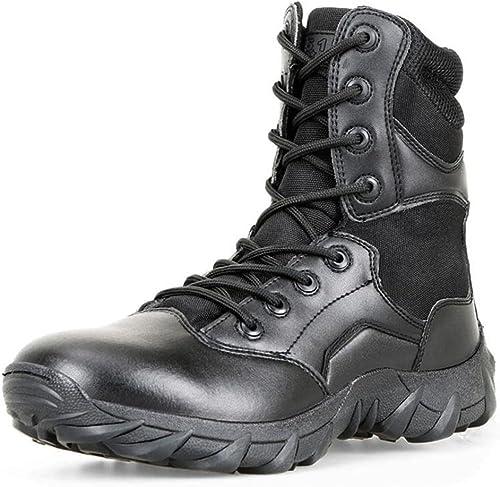 LUDEY Bottes Militaire pour Homme Tactique Tactique Tactique Bottes Combat Bottes Désert Bottes Chaussures de Travail Cuir A-MS 186