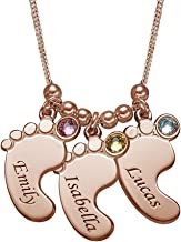 MyNameNecklace Personalized Engraved Baby Feet Name Necklace with Swarovski Crystals- Mom Christmas Jewelry Gift