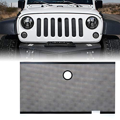 Xprite Black Stainless Steel Grill Mesh Insert with Hood Lock Hole For Jeep Wrangler JK JKU 2007-2018
