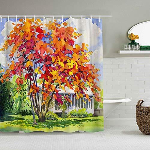 Marutuki Duschvorhang,Aquarell-Landschafts-Originalgemälde Rotorange Farbe des Pfaus,personalisierte Deko Badezimmer Vorhang,mit Haken,180 * 180