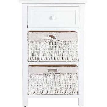 Serie vintage cassettiera comodino Forli legno di paulonia bianco 25x29x55cm ~ 3 cassetti
