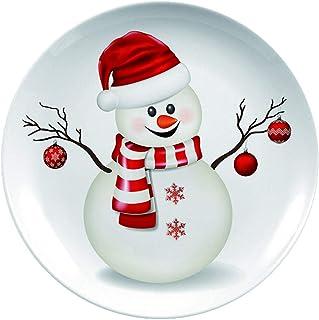 6 Snowmen Green Sponge design Holiday Plates Christmas Decor Atico \u201cLet It Snow\u201d Dessert dishes Salad Plate Holiday decor Snowmen