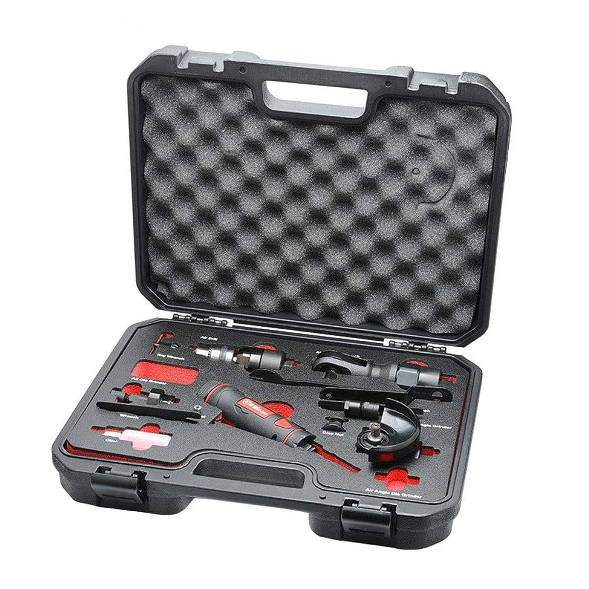 象薬告発エアー工具 空気圧5-IN-1ツールセット、空気圧ドリル空気圧彫刻機の角度グラインダーラチェットレンチハンドツール