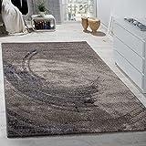 Paco Home Edler Designer Teppich Hochtief-Effekt Kurzflor Relief Optik Beige Grau Meliert, Grösse:160x230 cm