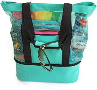 Mesh Beach Tote Bag, Womdee Large Beach Tote Bag with Zipper Top and Insulated Picnic Cooler, Fashion, Lightweight for Women (Green)
