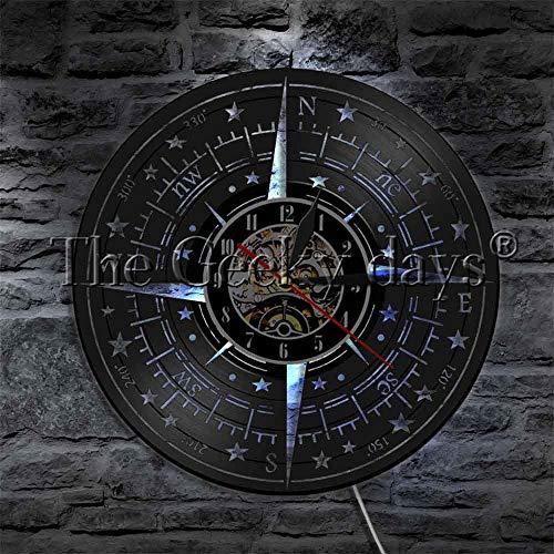 F FANTASY 'ART Kompass Dekorationen Vintage Wanduhr Vinyl Schallplatte Wanduhr Moderne Wohnkultur Wandkunst Uhr Zeit Wanduhr Mit LED Nachtlicht