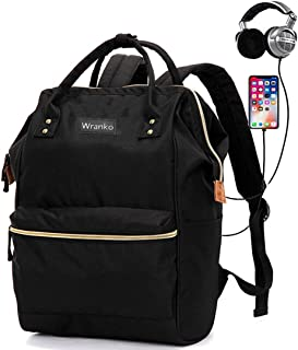 Sqoto Teens Backpack, Canvas Girls Bookbag with USB Charger Port and Pencil Case Striped School Backacpk Laptop Bag for 15.6 Inch Laptop Travel Daypack Rucksack Student Bag, Black