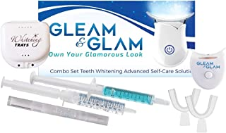 GLEAM & GLAM Teeth Whitening Kit with LED Light, 36% Carbamide Peroxide Gel, Trays, Case and Travel Pouch. Whitening Pen Included!