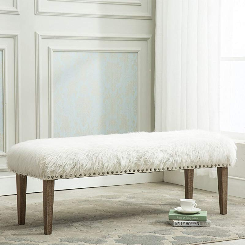 Yongchuang Pure White Glamorous Soft Faux Fur Modern Style Decorative Bench Footrest Ottoman Nailed Wood Legs