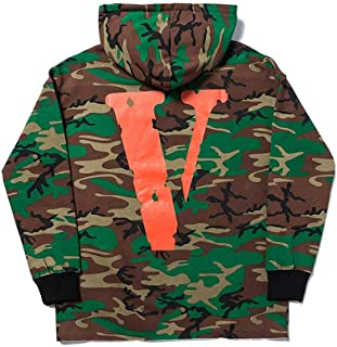 QYS Vlone Friend Letter Men Hoodie Camouflage Soft Long-Sleeves Couple Sweater,Green,S