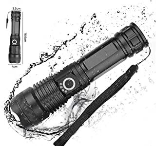 LED Flashlight High Lumens Brightest Light, USB Rechargeable Flashlight with Power Indicator Zoomable Flashlight Water Res...