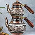 Turkish Copper TeaPot Kettle for Stovetop as Tea Pots Set - Stainless Whistling for Serving and Drinking