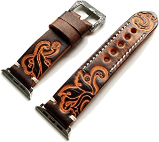 Brown with Orange Tooled Embossed Genuine Leather Band Strap Bracelet with Engraved Buckle Compatible with iWatch 42mm Apple Watch 1 2 3 Nike Hermes Edition with Gift Box