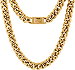 KRKC&CO 10mm Cuban Link Chain, 18k Gold Miami Cuban Link Curb Chain for Men, Solid No Tarnish Necklace, Durable Urban Street-wear Hip Hop Chain for Men