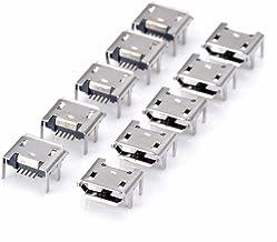 10 conectores de soldadura de alta calidad micro USB tipo B hembra de 5 pines con 4 patas verticales para teléfono móvil