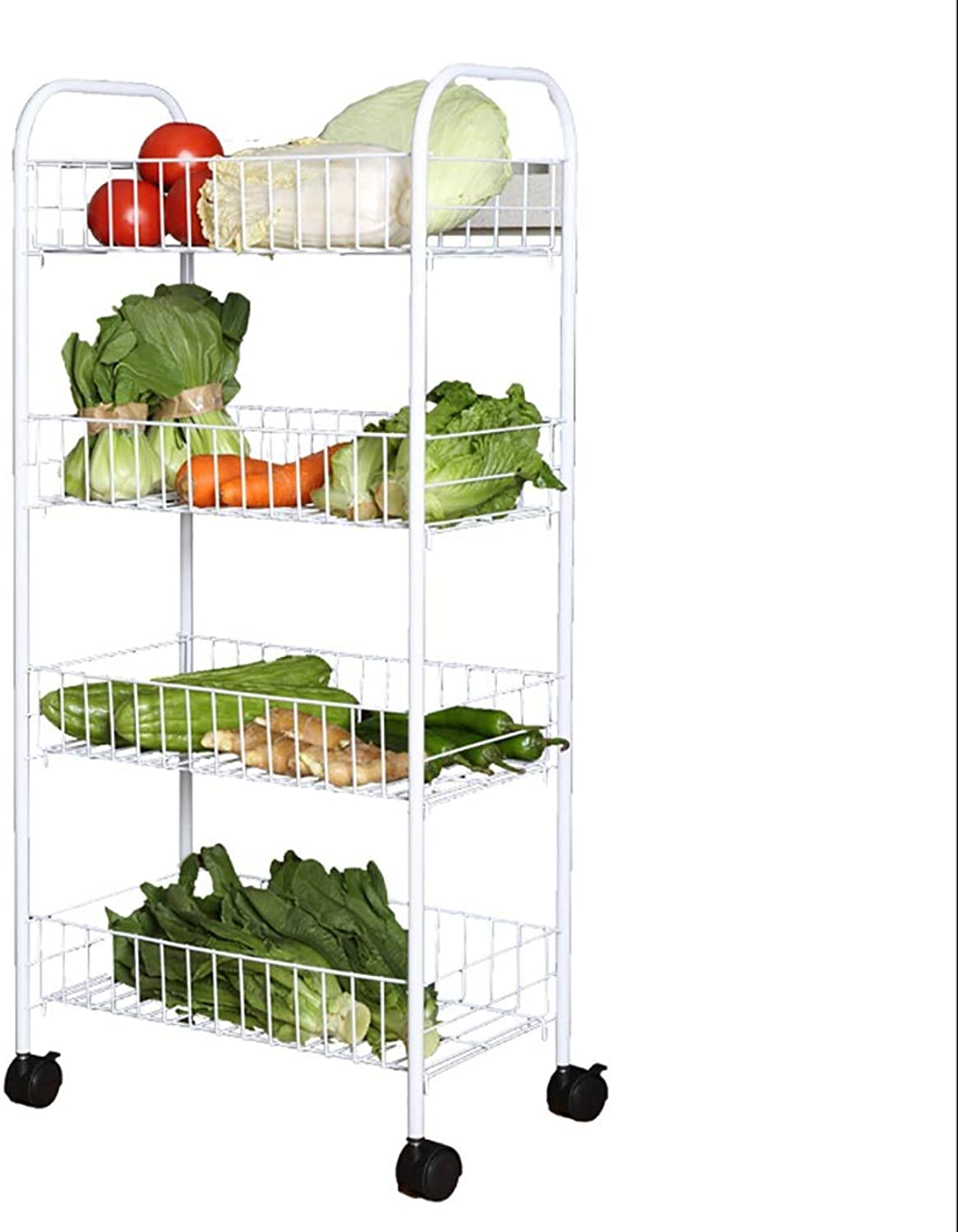 4 Tier Kitchen Storage Trolley with Wheels Carbon Steel Fruit Vegetable Rack for Bathroom Multifunction Organizing White (Size   35  20  90cm)