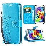 iDoer S5 Hülle,Solide Butterfly PU Ledercase Tasche Galaxy