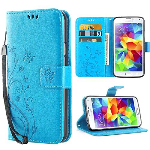 iDoer S5 Hülle,Solide Butterfly PU Ledercase Tasche Galaxy S5 Hülle Schutzhülle Flip Case Magnetverschluss Handyhülle im Wallet Bookstyle Standfunktion für Samsung Galaxy S5 - Blau