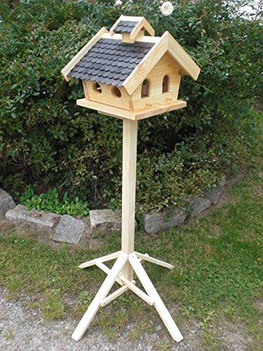 Vogelhaus mit Ständer-(V11+S1)XXL Schwarz-Vogelhäuser Vogelfutterhaus Vogelhäuschen-aus Holz- Schreinerarbeit-