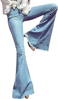 d0f48a83f785e Colmkley Women s Fashion Bell Bottom Jeans Flare Wide Legs Skinny Denim  Pants Blue
