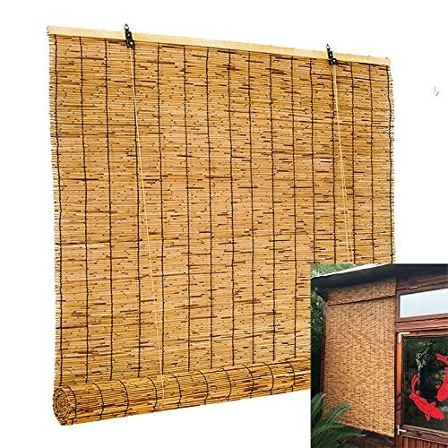 Bamboo Blinds Shade Outdoor - Roll Up Window Blind, 60 cm a 150 cm di Larghezza, Ventilazione e Privacy, per la casa del Patio della Cucina Balcone, Facile da Appendere, in Legno Veneziano