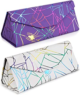 Foldable Hard Shell Glasses Case Triangle Sunglasses Cases, Available in Cute Pattern and Solid Colors, 2 Pack