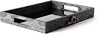 Charcoal Gray Faux Snakeskin Leather Tray with Silver Snake | Medium Serving Ottoman Coffee Table Decorative Entertaining Vanity Jewelry Storage Handmade Rectangle Catchall Organizer Bathroom Decor