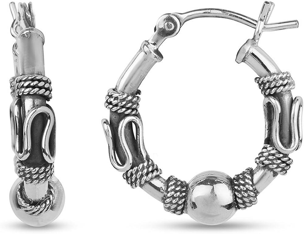LeCalla trust Sterling Silver Jewelry Antique Popular Balinese Hoop Beaded Ear