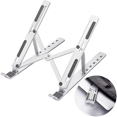"""FLAGTOP Foldable Laptop Stand Portable, Adjustable Ergonomic Aluminum Laptop Desk Stand, Non-Slip Computer Holder, Laptop Riser Compatible with MacBook Pro/Air and More Notebooks in 10""""-15.6"""" - Silver"""