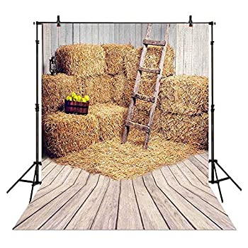 Allenjoy 6x8ft Farm Haystack Backdrop for Fall Photography Old Barn Harvest Background Kids Baby Autumn Thanksgiving Day Party Banner Decoration Photo Booth Props