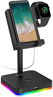Cell Phone Stand for Desk with USB Port, Apple Watch Charger Stand 2 in 1 KAFRI Desktop Holder Dock Compatible with iWatch...