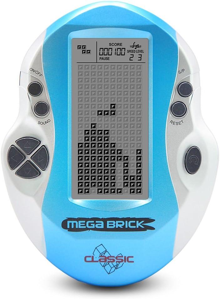 Nuevo ladrillo Juego consola pantalla grande electrónico ladrillo Inteligente juego de mano incorporado 23 juegos clásico nostálgico juego de puzzle buen regalo para un niño (azul)