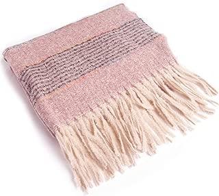 WUNONG-AU Winter Warm Tassel Stripes Thick Long Shawl Women Fashion Imitation Cashmere Scarf (Color : Pink, Size : 210cm)