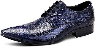 本革 大きいサイズ ビジネスシューズ メンズ ポインテッドトゥ 外羽根 革靴 紳士靴 3E ビジネス フォーマル 冠婚葬祭 結婚式 黒 赤 青 レースアップシューズ カジュアル パーティー 23.5cm-28cm