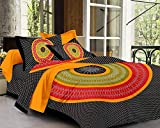 Xtore Traditional Jaipuri Print Bed Sheet with 2 Pillow Covers (100% Cotton) - Premium Quality - 90 x 108 inches